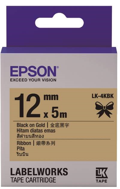 C53S654431 - LK-4KBK (Ribbon Black on Gold/12mm)